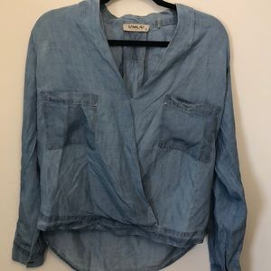 Chambray long sleeve top from Anthropologie.